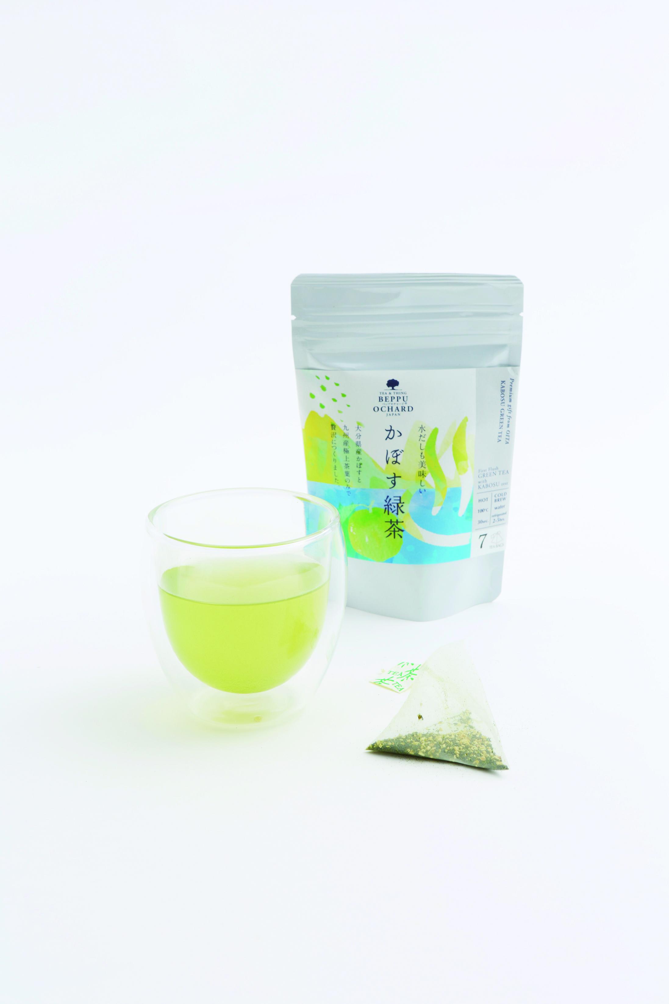かぼすの清涼感広がる 緑茶のフレーバーティー